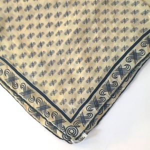 Vintage JAEGER 1970's Blue & White Silk Scarf
